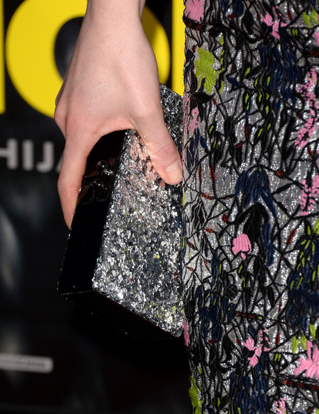 Michelle Dockery Beaded Clutch [pink,tree,hand,textile,finger,plant,jacket,arrivals,michelle dockery,clutch detail,regency village theatre,california,studiocanal,universal pictures,westwood,premiere,premiere]