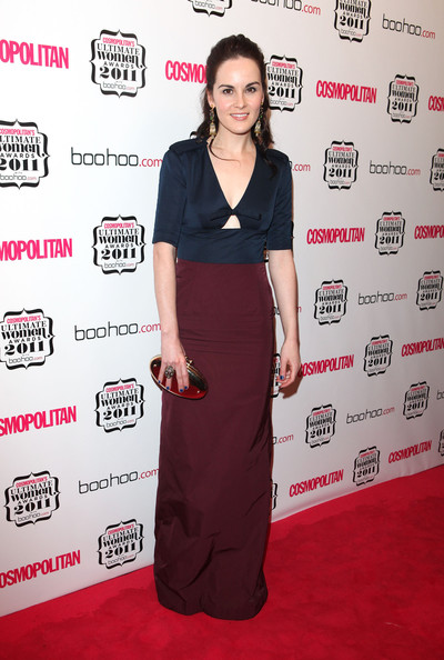 Michelle Dockery Metallic Clutch [clothing,red carpet,carpet,dress,flooring,fashion,shoulder,premiere,event,magenta,arrivals,michelle dockery,cosmopolitan ultimate women of the year awards,england,london,banqueting house]
