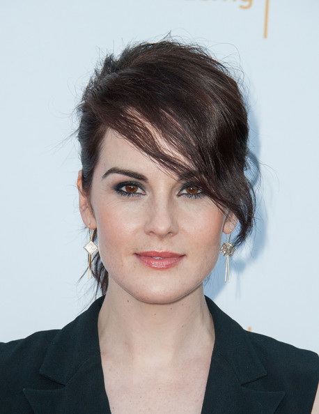 Michelle Dockery Dangling Crystal Earrings [hair,face,hairstyle,eyebrow,chin,lip,forehead,beauty,brown hair,black hair,arrivals,michelle dockery,spectra,pacific design center,west hollywood,california,television academy,66th annual emmy awards,reception,nominee reception]