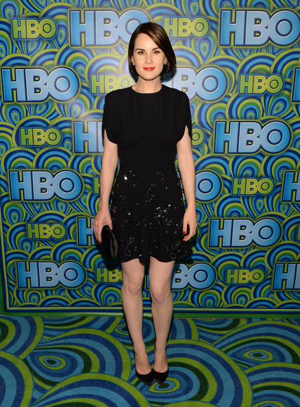 Michelle Dockery Beaded Dress [clothing,dress,pattern,shoulder,day dress,cocktail dress,fashion model,fashion,joint,arrivals,michelle dockery,primetime emmy awards,the plaza,los angeles,california,pacific design center,hbo,reception,primetime emmy awards post award reception]