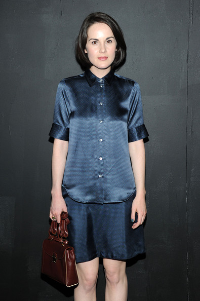 Michelle Dockery Leather Purse [marc jacobs spring 2014,denim,clothing,blue,jeans,fashion,button,textile,dress,sleeve,shirt,collection,michelle dockery,marc jacobs - backstage,new york city,lexington,the new york state armory,fashion show]