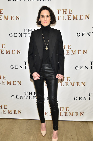 Michelle Dockery Pumps [the gentlemen,clothing,shoulder,fashion,jeans,leather,footwear,outerwear,street fashion,blazer,joint,michelle dockery,photo call,new york,whitby hotel,blazer,leather jacket,jacket,jeans,socialite,leather,carpet,black m]