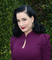 Dita Von Teese looked flawless, as always, with her retro-glam 'do at the LoveGold luncheon.