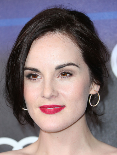 Michelle Dockery Diamond Hoops [hair,face,lip,eyebrow,hairstyle,chin,nose,forehead,cheek,beauty,arrivals,michelle dockery,california,los angeles,cecconis restaurant,audi celebrates emmys]