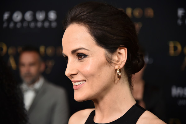 Michelle Dockery Gold Hoops [downton abbey,hair,face,eyebrow,hairstyle,chin,beauty,cheek,nose,premiere,forehead,michelle dockery,new york,alice tully hall,lincoln center,premiere,new york premiere]