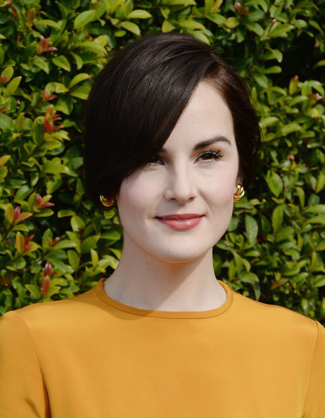 Michelle Dockery Gold Hoops [hair,hairstyle,beauty,eyebrow,chin,black hair,long hair,brown hair,fashion model,layered hair,lovegold honors,michelle dockery for a celebration of gold,michelle dockery,gold,california,los angeles,chateau marmont,glamour,celebration]