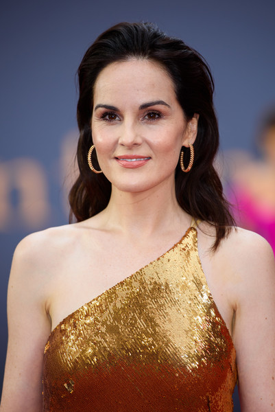 Michelle Dockery Gold Hoops [downton abbey,hair,hairstyle,beauty,eyebrow,fashion model,shoulder,long hair,fashion,lip,premiere,arrivals,michelle dockery,england,london,cineworld leicester square,vip,world premiere]