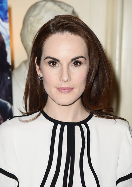 Michelle Dockery Sterling Hoops [hair,face,hairstyle,eyebrow,lip,beauty,fashion,brown hair,long hair,black hair,michelle dockery,the sense of an ending,q,new york city,the lotus club]