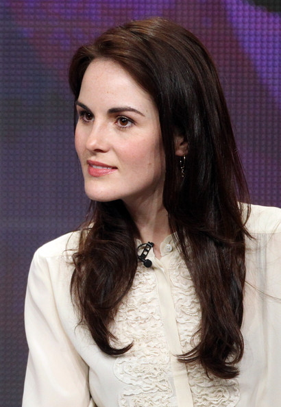 Michelle Dockery Long Side Part [hair,face,hairstyle,eyebrow,long hair,lady,beauty,layered hair,forehead,brown hair,michelle dockery,portion,masterpiece - downtown abbey ii,beverly hills,california,beverly hilton hotel,pbs,summer tca,panel,summer tca tour]