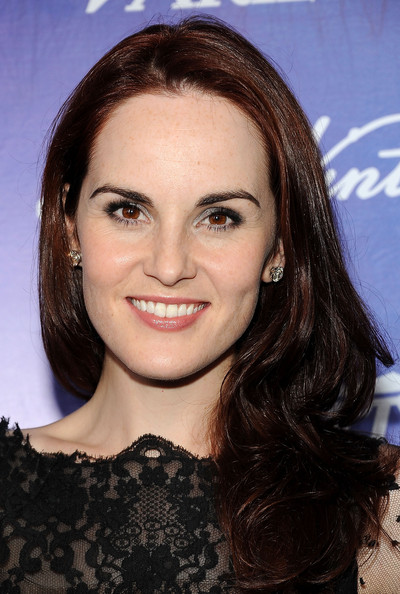 Michelle Dockery Long Wavy Cut [hair,face,eyebrow,hairstyle,chin,brown hair,long hair,beauty,forehead,lip,michelle dockery,arrivals,scarpetta,beverly hills,california,variety and women in film pre-emmy event]