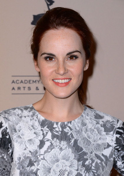 Michelle Dockery Ponytail [hair,face,hairstyle,eyebrow,lip,beauty,fashion,chin,shoulder,brown hair,michelle dockery,writer nominees,north hollywood,california,academy of television arts sciences,64th primetime emmy awards,reception]