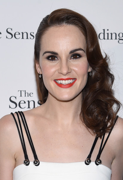 Michelle Dockery Red Lipstick [hair,face,lip,hairstyle,eyebrow,shoulder,skin,beauty,chin,brown hair,michelle dockery,the sense of an ending,new york,the museum of modern art,new york screening]