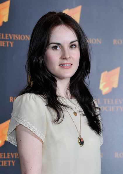 Michelle Dockery Heart Pendant [hair,face,beauty,hairstyle,long hair,black hair,layered hair,brown hair,smile,makeover,arrivals,michelle dockery,rts programme awards,the grosvenor house hotel,london,england]