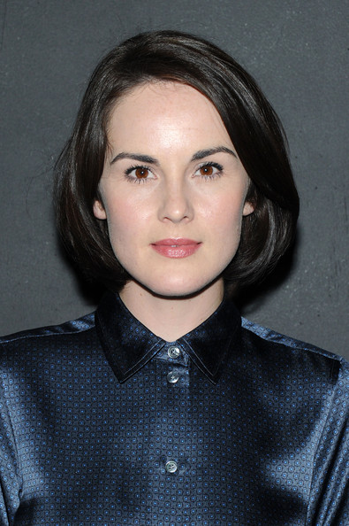 Michelle Dockery Bob [marc jacobs spring 2014,hair,face,eyebrow,hairstyle,lip,chin,beauty,cheek,fashion,forehead,collection,michelle dockery,marc jacobs - backstage,new york city,lexington,the new york state armory,fashion show]