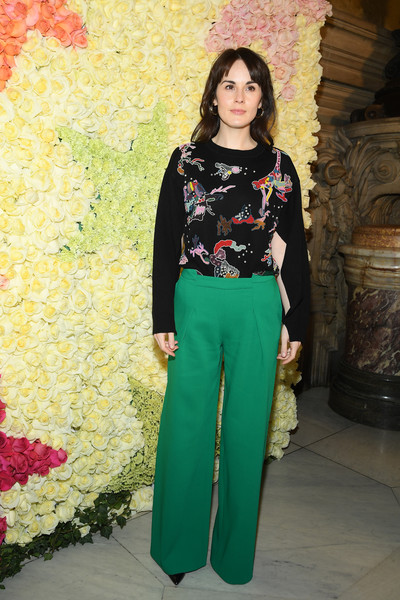 Michelle Dockery Crewneck Sweater [haute couture spring summer,clothing,green,fashion,pink,turquoise,fashion model,waist,formal wear,trousers,fashion design,schiaparelli,michelle dockery,front row,part,schiaparelli haute couture spring summer 2019,paris,france,paris fashion week,show]
