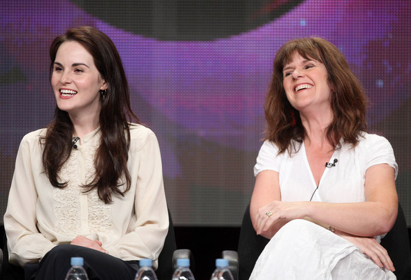 Michelle Dockery Loose Blouse [event,performance,talent show,conversation,actresses,michelle dockery,siobhan finneran,masterpiece - downtown abbey ii,beverly hilton hotel,l,pbs,summer tca,panel,portion]