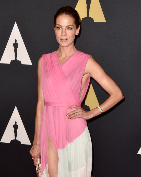 Michelle Monaghan Gemstone Bracelet [clothing,dress,pink,shoulder,fashion model,fashion,neck,cocktail dress,beauty,hairstyle,michelle monaghan,hollywood highland center,california,the ray dolby ballroom,academy of motion picture arts and sciences,governors awards]