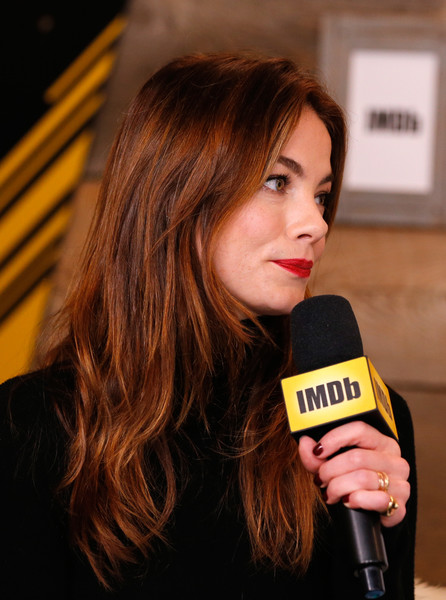 Michelle Monaghan Gold Ring [hair,yellow,beauty,hairstyle,brown hair,lip,long hair,hair coloring,liqueur,layered hair,michelle monaghan,sidney hall,park city,filmmaker discovery lounge,utah,imdb studio,amazon video direct: day four,the imdb studio,sundance film festival featuring the filmmaker discovery lounge]