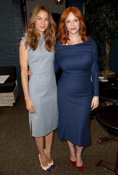 Michelle Monaghan Day Dress [variety studio,l,samsung galaxy,clothing,dress,shoulder,cocktail dress,fashion,lady,hairstyle,formal wear,joint,electric blue,west hollywood,california,palihouse,actresses,michelle monaghan,christina hendricks]