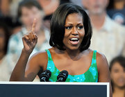 Michelle Obama kept it classic with a bob during a campaign event in Miami.