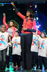 Michelle Obama was appropriately dressed in sports pants during the unveiling of a school exercise program.