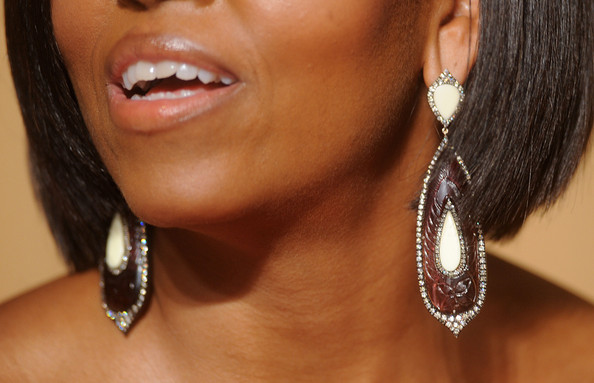 Michelle Obama Dangling Diamond Earrings