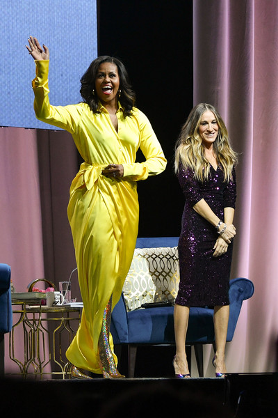 Michelle Obama Shirtdress [book ``becoming,book,performance,yellow,fashion,event,stage,performing arts,talent show,performance art,fashion design,competition,michelle obama,sarah jessica parker,new york city,barclays center,l]