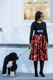 Michelle Obama's floral skirt added a nice splash of color to her outfit.
