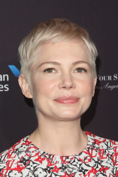 Michelle Williams Pixie [hair,face,hairstyle,eyebrow,chin,blond,lip,head,forehead,cheek,arrivals,michelle williams,los angeles,four seasons hotel,california,beverly hills,bafta,tea party]