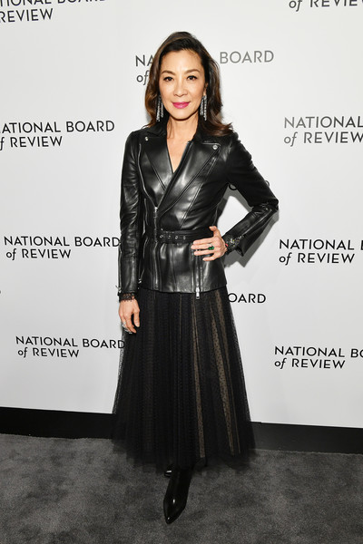 Michelle Yeoh Ankle Boots [clothing,leather,fashion,leather jacket,dress,jacket,outerwear,textile,footwear,fashion model,arrivals,michelle yeoh,new york city,cipriani 42nd street,national board of review annual awards gala,national board of review annual awards gala]