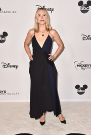 Kristen Bell donned a plunging two-tone slip gown by Victoria Beckham for Mickey's 90th Spectacular.