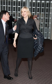 Diane Sawyer sported an all-black ensemble, consisting of a fitted blouse, a pencil skirt, tights, and pumps, for the Mike Wallace Memorial.
