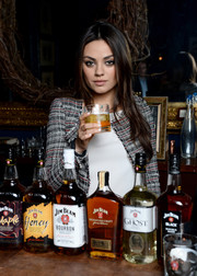 Mila Kunis kept it smart in a tweed jacket by Isabel Marant at the Jim Beam 'Make History' cocktail reception.