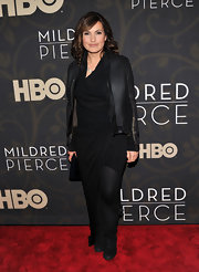 Mariska wears a black leather jacket over her ruched LBD for the 'Mildred Pierce' premiere.