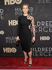 Kate Winslet donned black and nude Fall 2011 Two-Tone ankle strap sandals to the premiere of 'Mildred Pierce.'