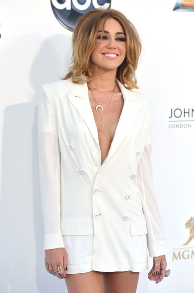 Miley Cyrus Statement Ring [white,clothing,outerwear,suit,blazer,hairstyle,fashion,formal wear,long hair,jacket,arrivals,miley cyrus,billboard music awards,2012 billboard music awards,las vegas,nevada,mgm grand garden arena]