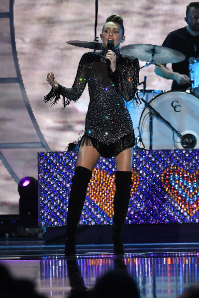 Miley Cyrus Beaded Dress [night 2 - show,performance,entertainment,performing arts,music artist,stage,thigh,event,public event,music,leg,miley cyrus,las vegas,nevada,t-mobile arena,iheartradio music festival]