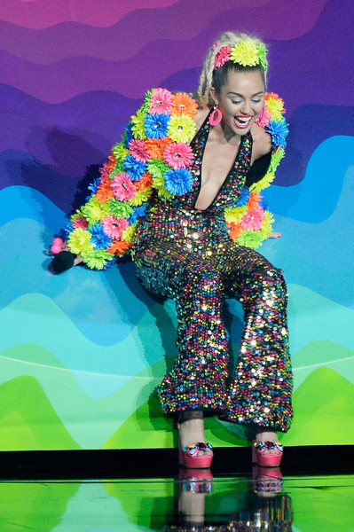 Miley Cyrus Cropped Jacket [performance,fashion,music artist,fun,singer,event,stage,fashion design,performing arts,talent show,miley cyrus,mtv video music awards,los angeles,california,microsoft theater,show]