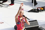 Miley Cyrus performs live for Sunrise at Sydney Opera House on October 13, 2014 in Sydney, Australia.
