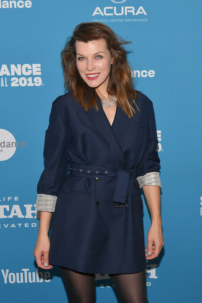 Milla Jovovich Wool Coat [clothing,hairstyle,premiere,little black dress,fashion,electric blue,long hair,dress,carpet,outerwear,milla jovovich,sundance film festival,premiere,paradise hills premiere,paradise hills,utah,park city,library center theater]