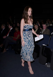 For the Millennium Challenge Corporation Forum, Minka Kelly wore this simple blue chiffon dress with nude pumps.