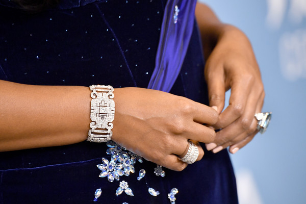 Mindy Kaling Statement Ring [wrist,blue,hand,bracelet,arm,finger,fashion accessory,jewellery,electric blue,muscle,arrivals,mindy kaling,costume designers guild awards,bracelet,fashion details,manicure,beverly hills,california,the beverly hilton hotel,cdga,nail,hand model,ring,hand]