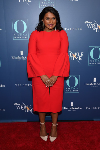 Mindy Kaling Cocktail Dress [o the oprah magazine hosts special nyc screening of ``a wrinkle in time,a wrinkle in time,clothing,red,red carpet,carpet,electric blue,dress,premiere,fashion,footwear,cocktail dress,mindy kaling,nyc,walter reade theater,screening]