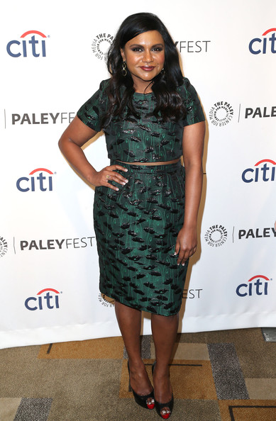 Mindy Kaling Pencil Skirt [the mindy project,paleyfest 2014 honoring the mindy project,clothing,dress,cocktail dress,hairstyle,fashion,footwear,fashion model,long hair,fashion design,shoulder,mindy kaling,dolby theatre,california,hollywood,paley center for media,executive producer,paleyfest 2014]