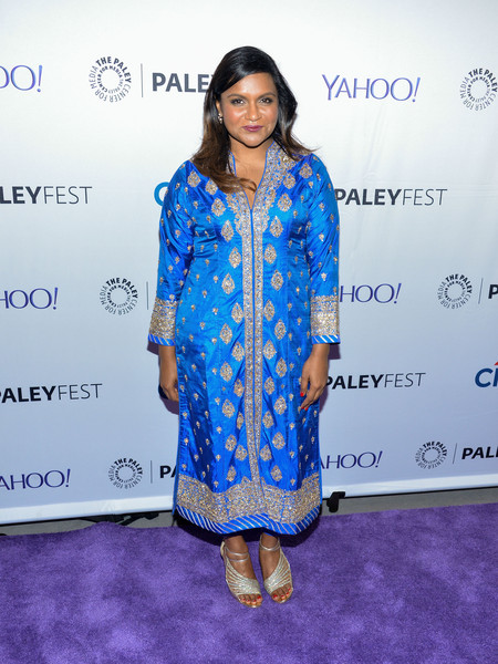 Mindy Kaling Evening Sandals [the mindy project,blue,flooring,fashion,electric blue,outerwear,carpet,formal wear,fashion design,red carpet,pattern,mindy kaling,paleyfest new york,new york city,paley center for media]