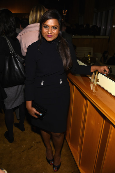 Mindy Kaling Peep Toe Pumps [the new yorker festival 2014,clothing,leg,fashion,outerwear,tights,little black dress,coat,formal wear,thigh,black hair,mindy kaling,top,new york city,the standard hotel,wrap party,new yorker festival 2014 wrap party]