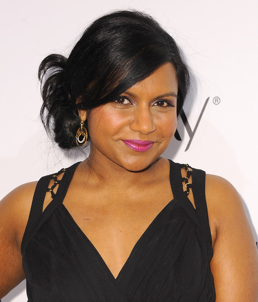 Mindy Kaling Pink Lipstick [hair,hairstyle,eyebrow,black hair,beauty,chin,shoulder,lip,long hair,lace wig,mindy kaling,annual women in television celebration,arrivals,west hollywood,california,sunset tower,elle,women in television celebration]