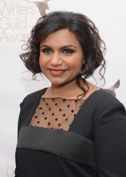 Mindy Kaling Bobby Pinned Updo [red carpet,hair,face,hairstyle,beauty,eyebrow,chin,black hair,lip,fashion,forehead,mindy kaling,writers guild awards,los angeles,jw marriott,california,l.a. live,wgaw,wgaw writers guild awards]