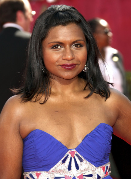 Mindy Kaling Half Up Half Down [hair,beauty,hairstyle,long hair,black hair,premiere,brown hair,arrivals,mindy kaling,primetime emmy awards,california,los angeles,nokia theatre,61st primetime emmy awards]