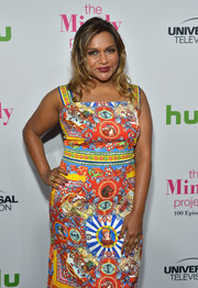 Mindy Kaling complemented her colorful dress with a red mani for the 'Mindy Project' 100th episode party.